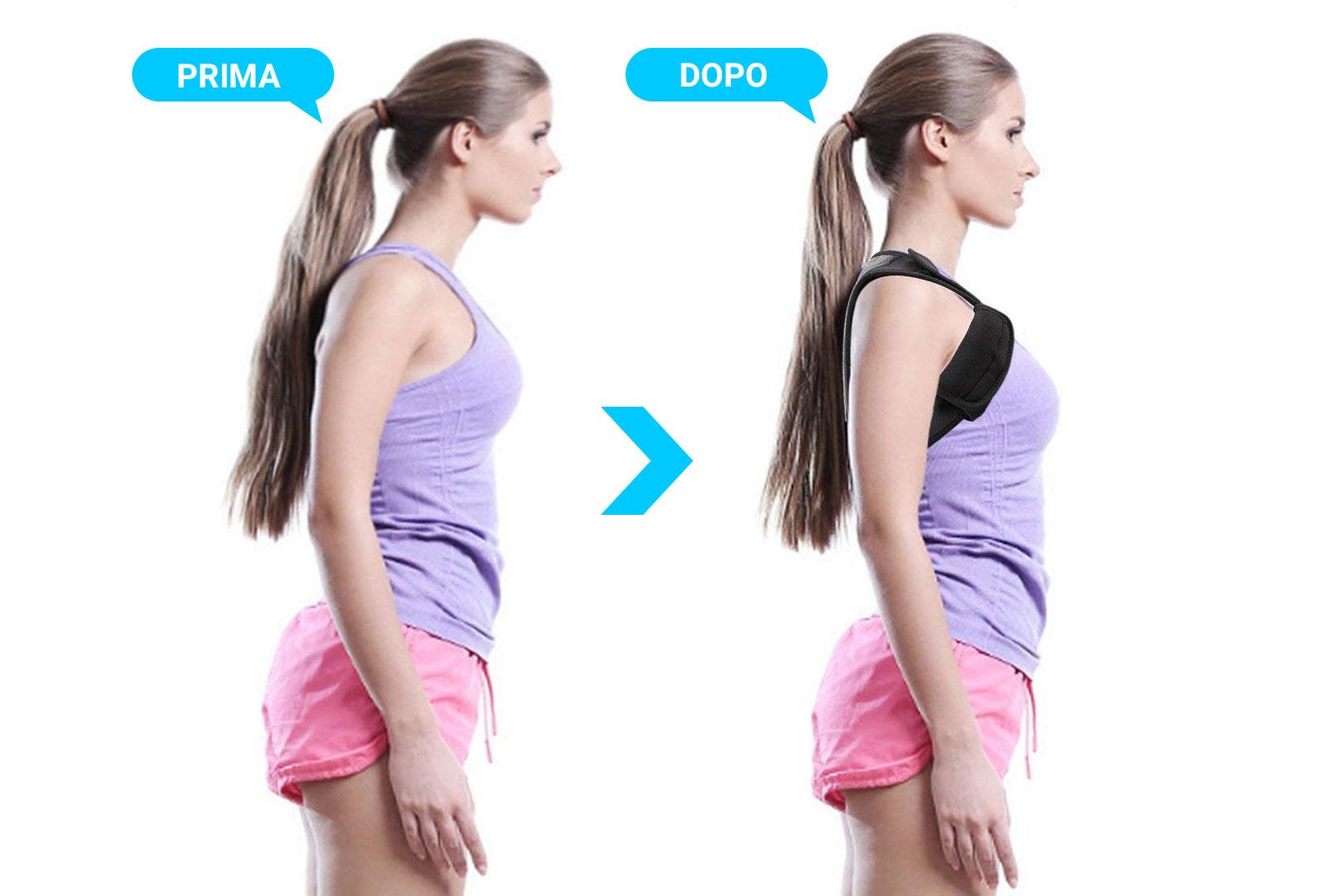 correttore posturale prima e dopo